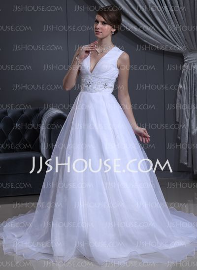 Wedding Dresses - $185.99 - Ball-Gown V-neck Chapel Train Organza  Satin Wedding Dresses With Ruffle  Lace  Beadwork (002001413) http://jjshouse.com/Ball-gown-V-neck-Chapel-Train-Organza-Satin-Wedding-Dresses-With-Ruffle-Lace-Beadwork-002001413-g1413
