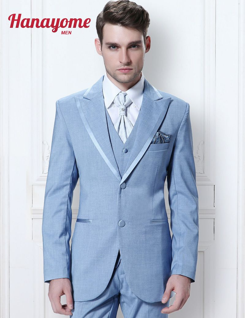 Click to Buy << NEW Brand Suits Light Blue Suit For Male Long ...