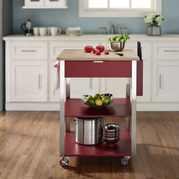 Culinary Prep Kitchen Cart In Red Carts And Islands Therta