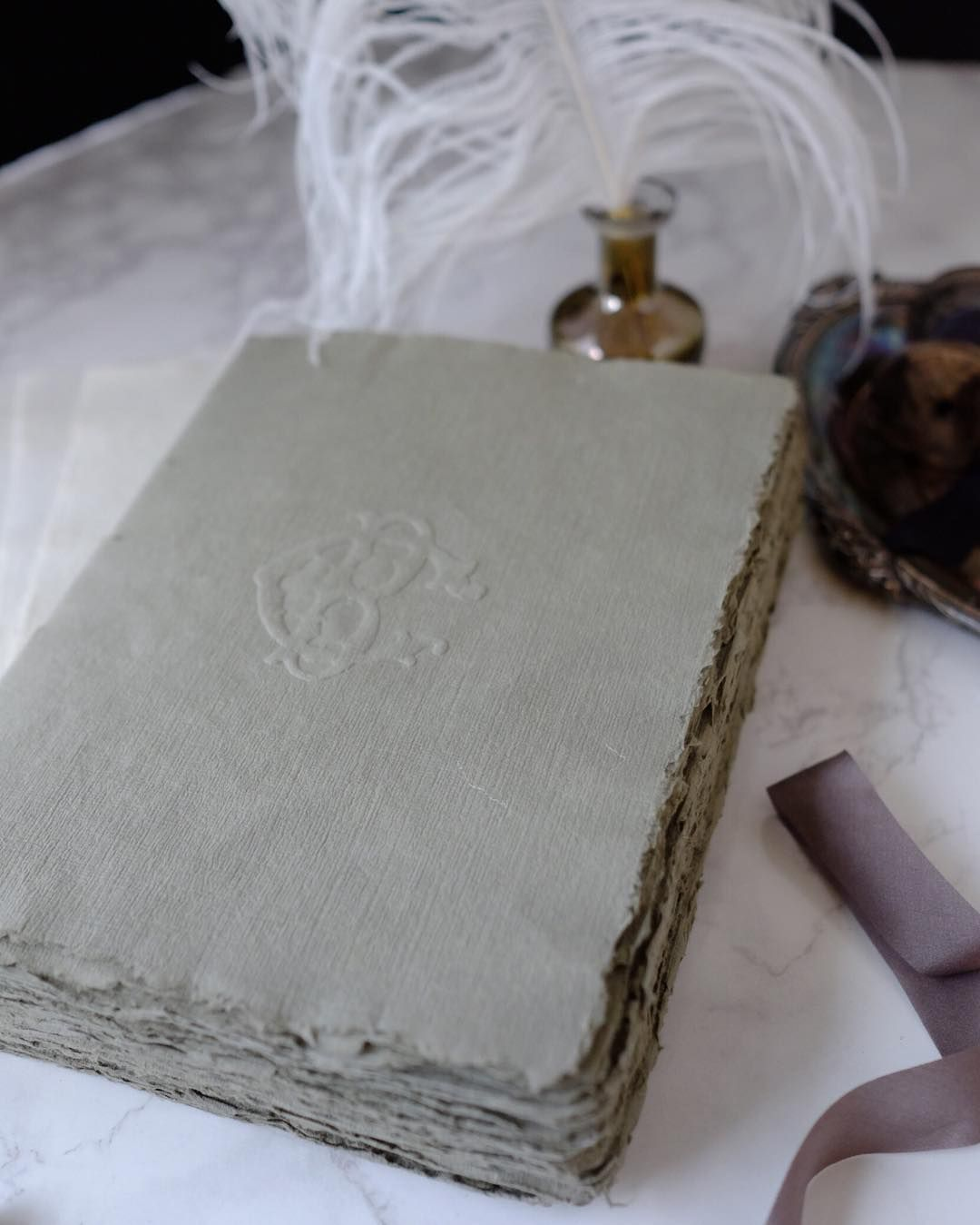 Old world romance cotton paper journal or guestbook from