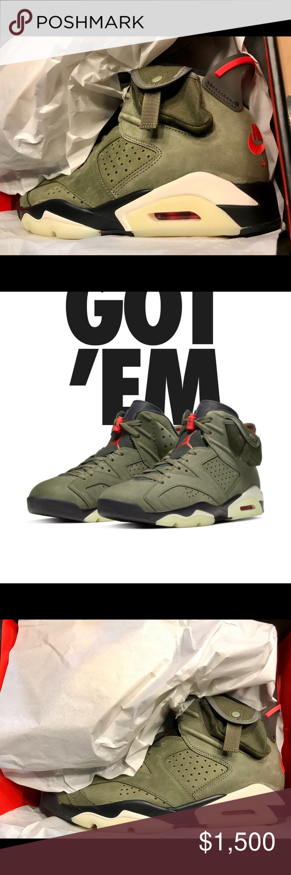 DS Nike Air Jordan 6 Travis Scott Cactus Jack 10.5 Won