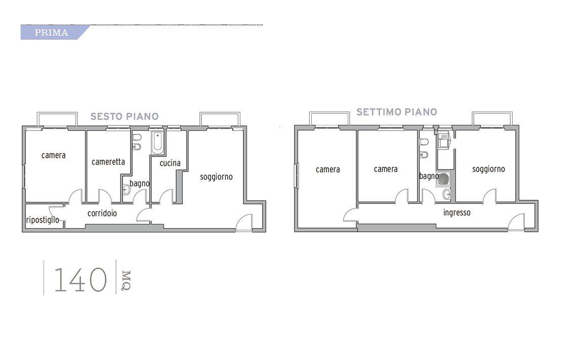Ristrutturazione Di Un Appartamento Di 140 Mq Su Due Piani Casafacile Planimetrie Di Case Case Modulari Piantine Di Case