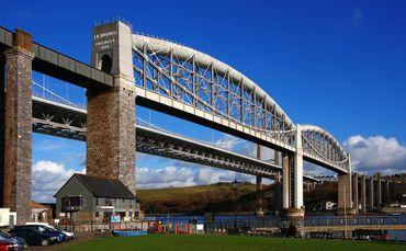Royal Albert Bridge, England. This railway bridge connects Plymouth and Saltash.