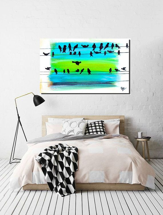 Bird painting Large Acrylic Painting canvas art by PooArtGallery