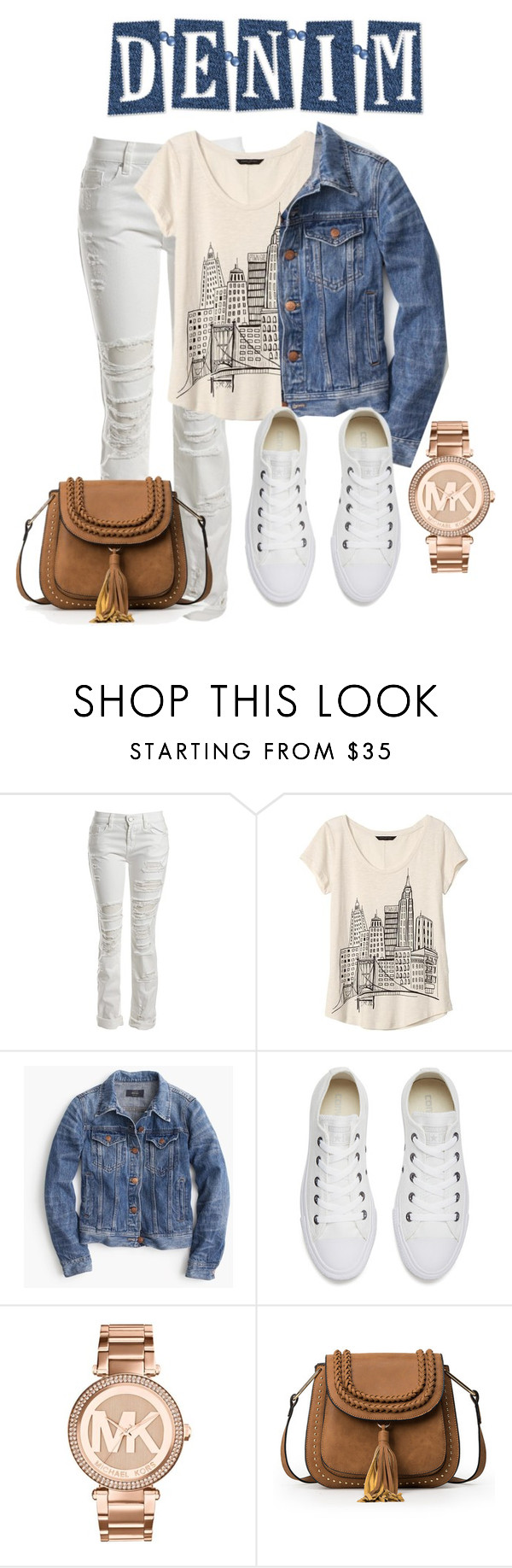 """""""Denim Jacket"""" by arimagedesign ❤ liked on Polyvore featuring Sans Souci, Banana Republic, J.Crew, Converse and Michael Kors"""