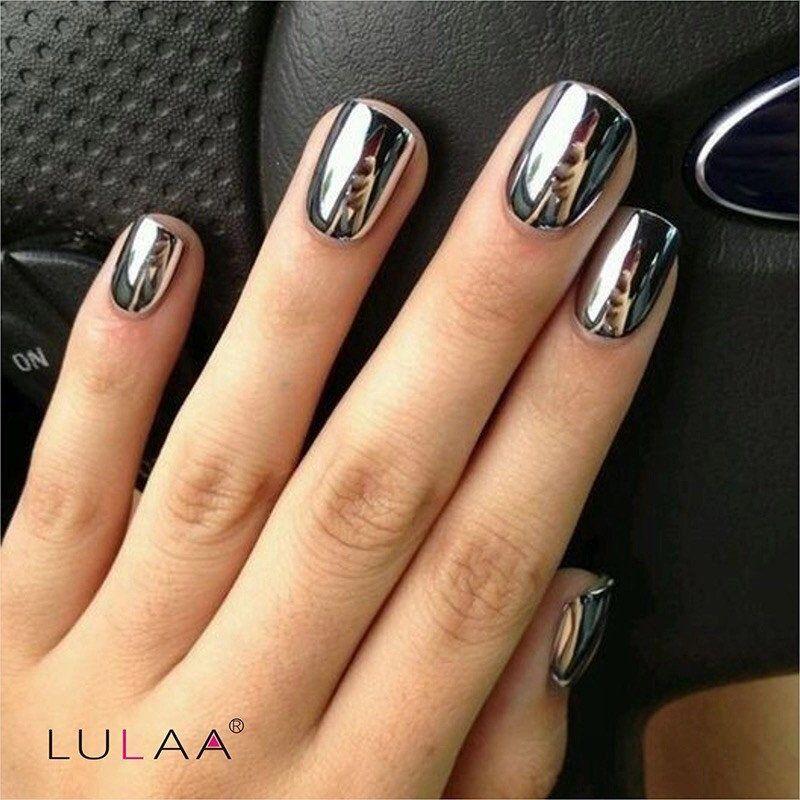 Silver Mirror Effect fashion Metal Nail Polish Varnish Top Coat Metallic  Nails Art Tips nail polish Set - Priced to Love - 1 - Sweet Cotton Candy Nail Colors And Designs Metallic Nails, Top