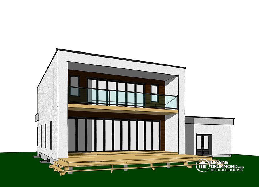 Détail du plan de Maison unifamiliale W3883-V1 4 Pinterest