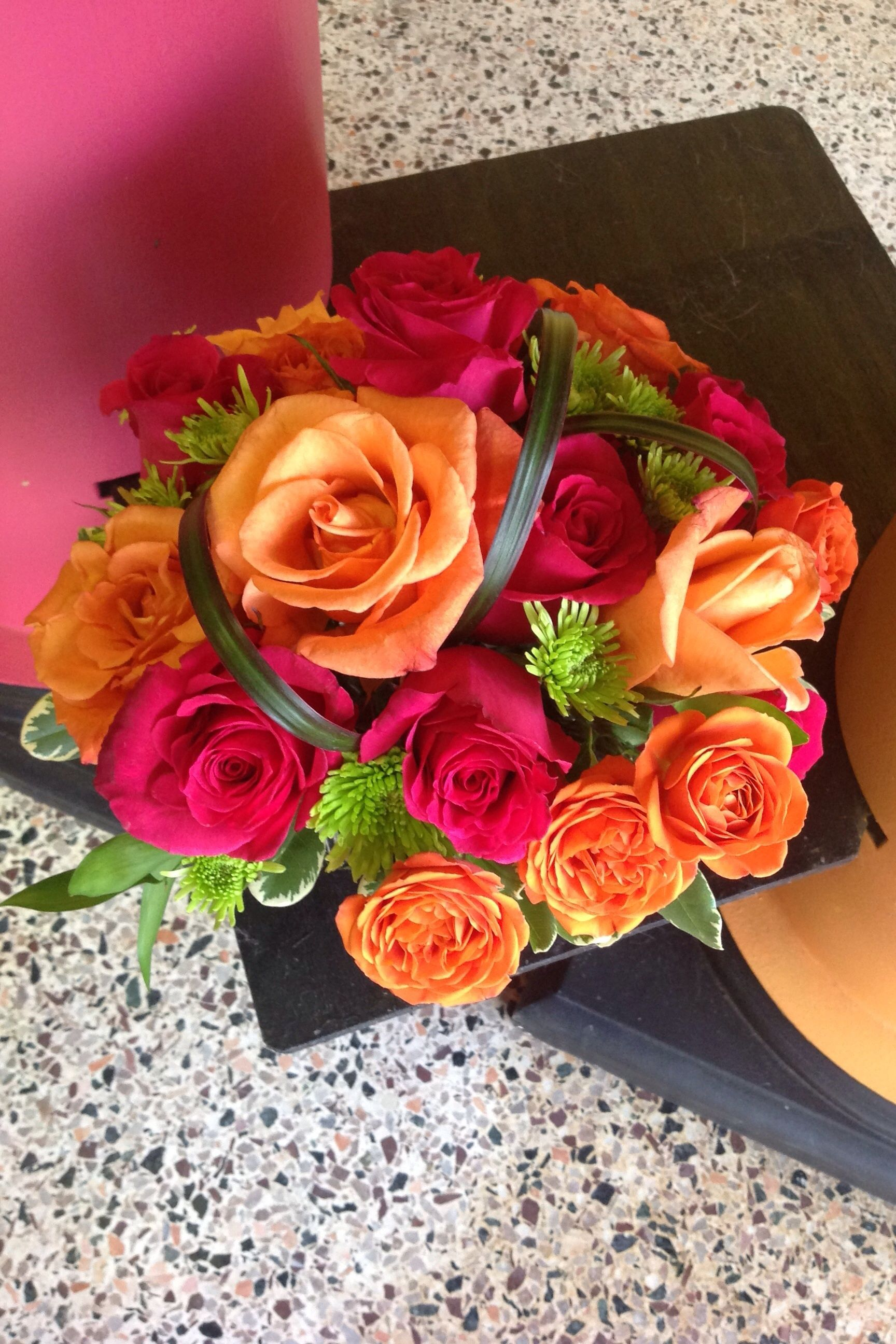 Hot Pink Bold Orange And Lime Green Wedding Bouquet Roses Spray