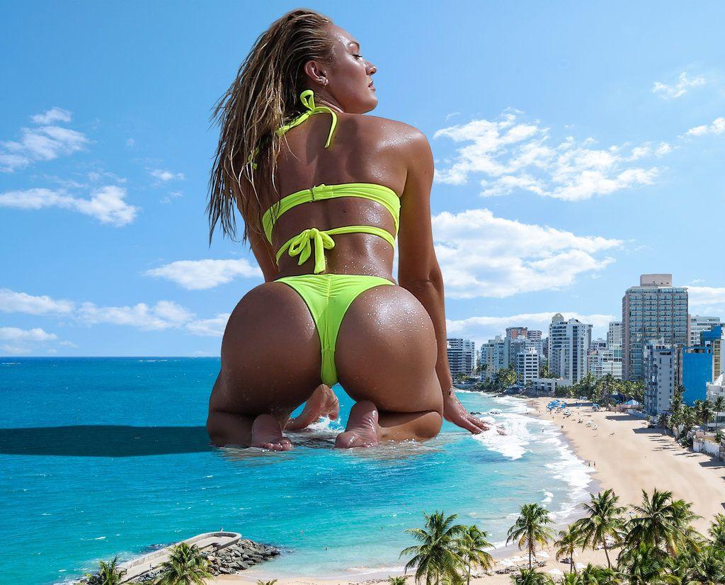 giantess booru (image 220147: barefoot beach bikini blonde butt