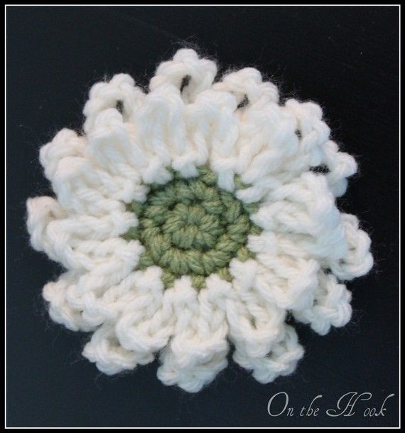Flower Brooch Crochet Cream and Green - cute craft