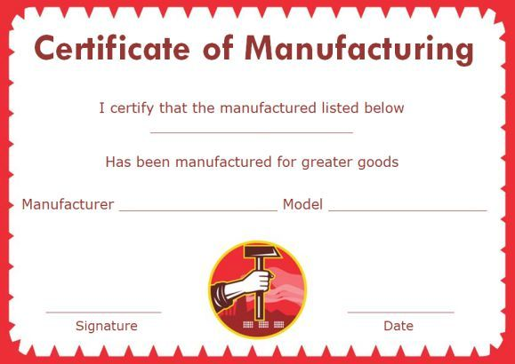 Certificate of compliance template manufacturing for Certificate of manufacture template