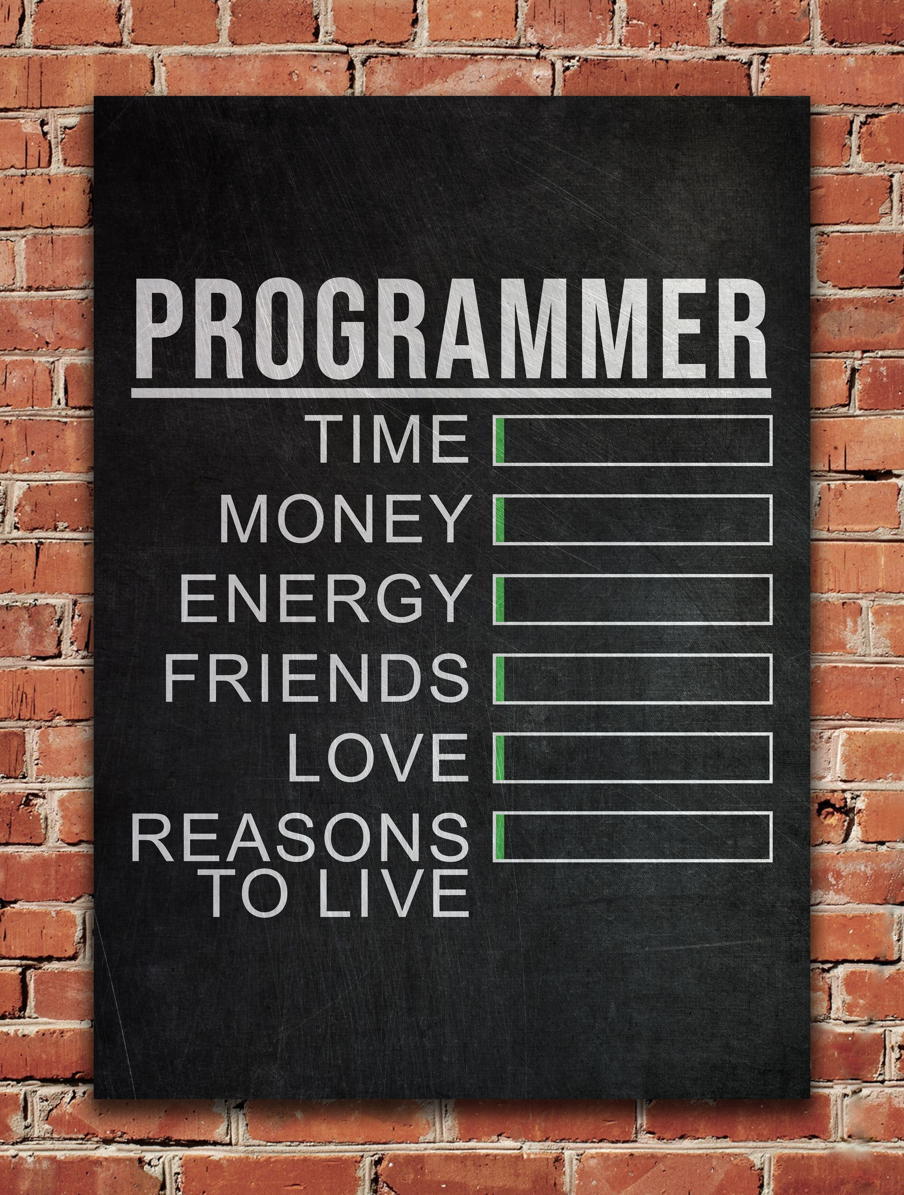 Programmer Stats Metal Poster Print Posterworld Displate In 2020 Metal Posters Geek Quotes Programmer Quote