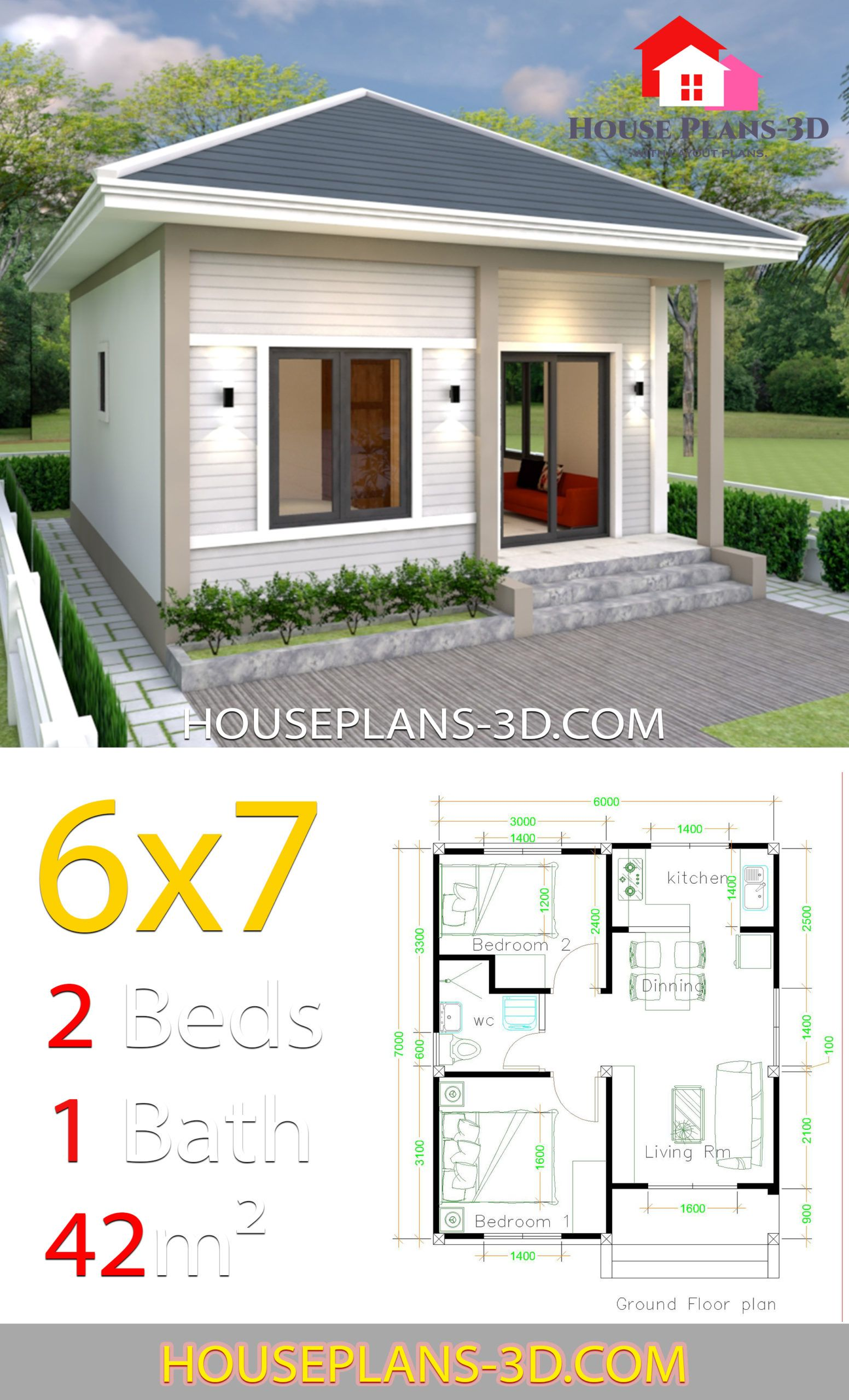 Simple House Plans 6x7 With 2 Bedrooms Hip Roof House Plans 3d Simple House One Bedroom House Simple House Design