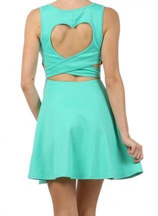 Mint Green Day Dress - Studded Heart-Back #mint #green #dress www.loveitsomuch.com