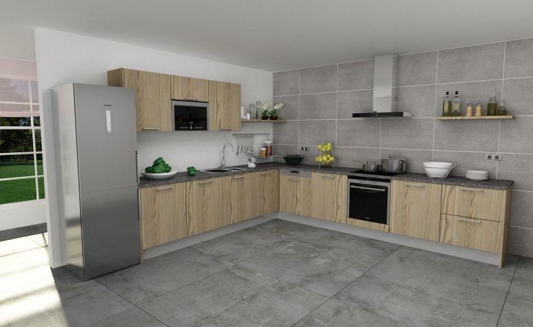 Modelo de cocina con puerta tah n laminado pino for Muebles de cocina fiona
