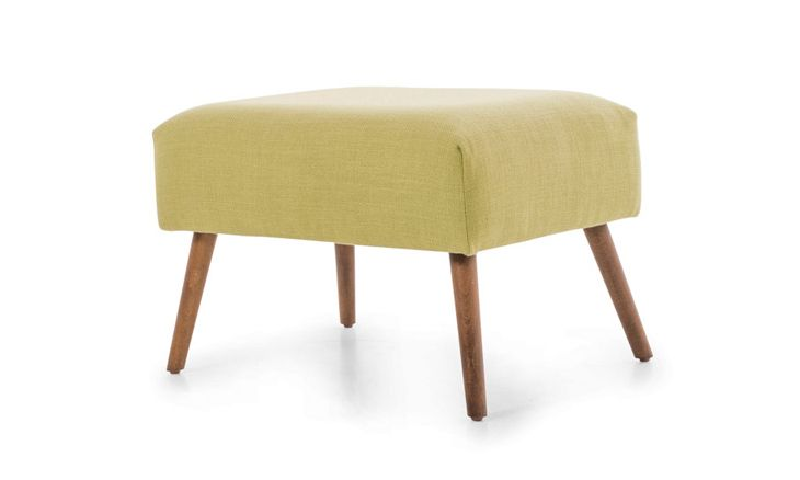 Perched on tall tapered legs, this Mid-century inspired ottoman makes chic work of kicking up your feet.