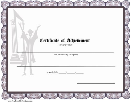 A Printable Certificate Of Achievement For A High School Or College  Graduate, With A Graduating  Printable Certificates Of Achievement