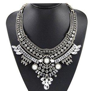 Contever® Bijoux Vintage Collier Sautoir Femme Bijoux Frange Cristal Déclaration Punk Boheme (Argent)…