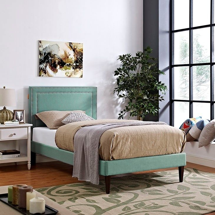 Jessamine Twin Fabric Platform Bed with Squared Tapered