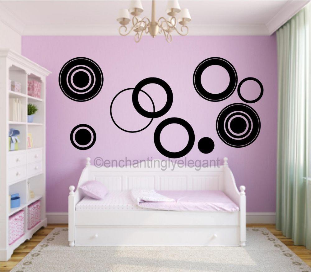 . Large Circles Vinyl Decal Wall Stickers Teen Girl Boy Room Modern