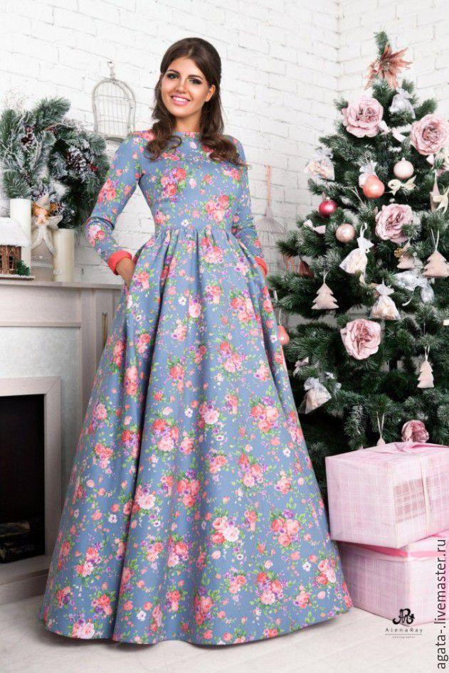 Платье цветочное - голубой, цветочный, шикарное платье, красивое платье, купить платье