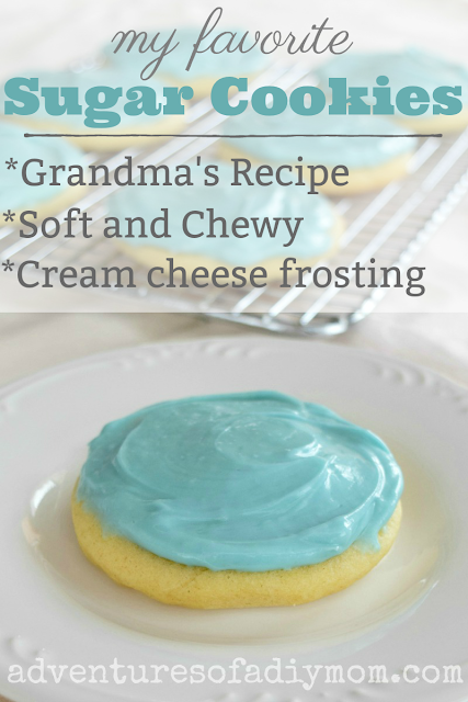 My favorite sugar cookies are made with my Grandma's recipe. They are soft and chewy and topped with delicious cream cheese frosting. #christmascookies #bestsugarcookies