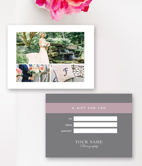 Photographer Gift Card Template - Photography Gift Certificate