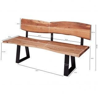 FineBuy Esszimmerbank 160x85, 5x60 cm Akazie Massivholz