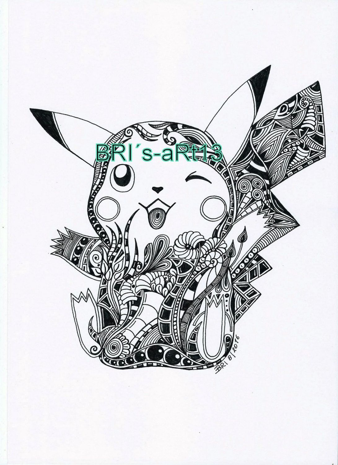 Adult coloring DOODLE Pokemon - malvorlage - Zentangle - von ...