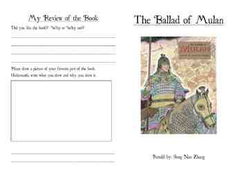 After Reading The Story The Ballad Of Mulan By Song Nan Zhang Students Can Complete This 8 Mini Page A Writing A Book Review Writing A Book Writing Activities