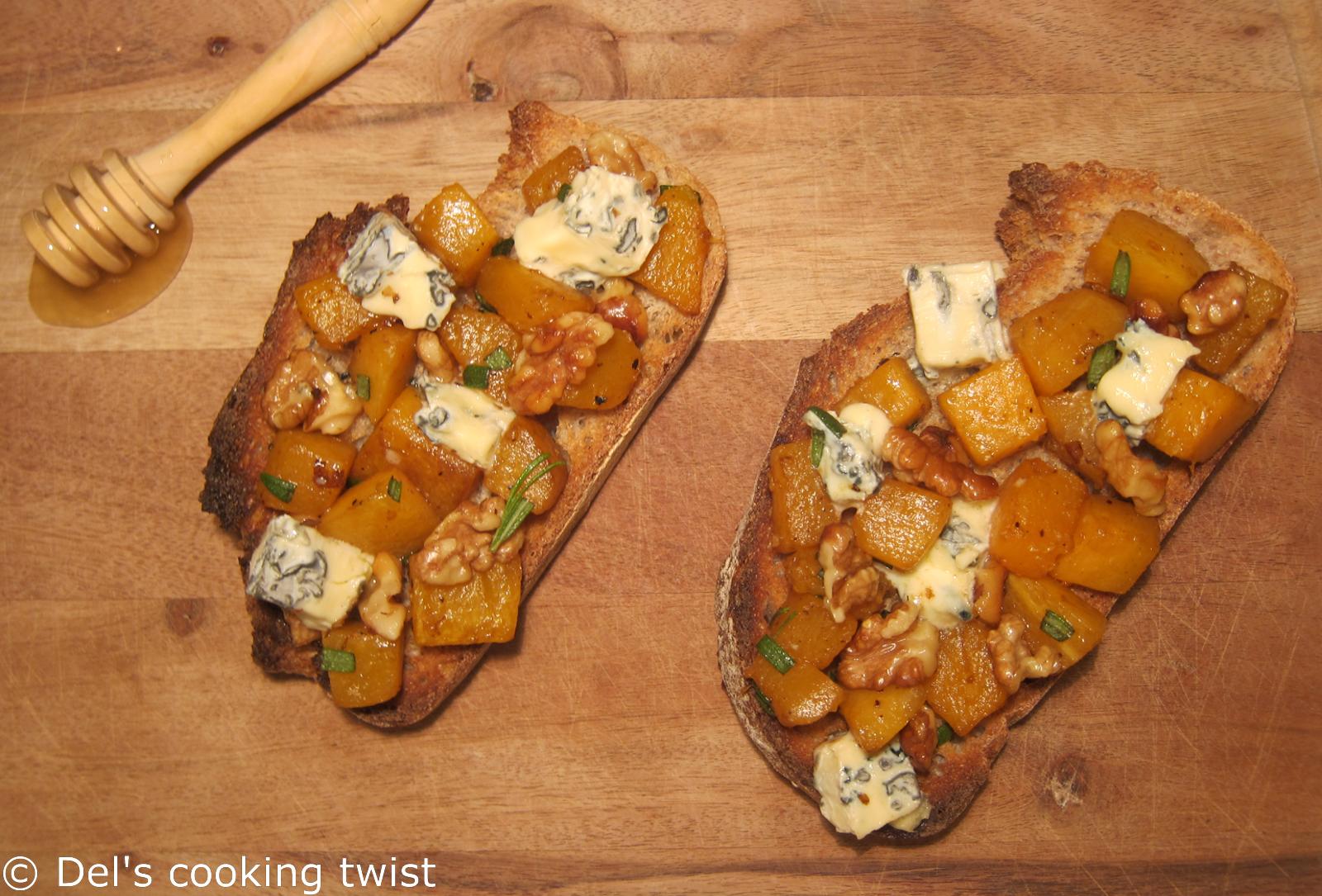 Pumpkin and Walnut Tartine with Blue Cheese