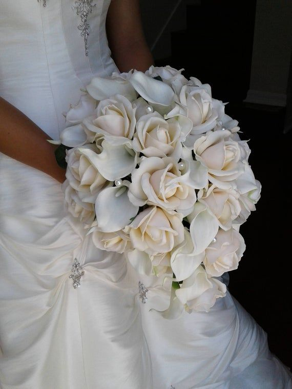 Cascading Bridal Bouquet-Real Touch Rose and Calla Lily Cascade Bouquet-Teardrop Wedding Bouquet
