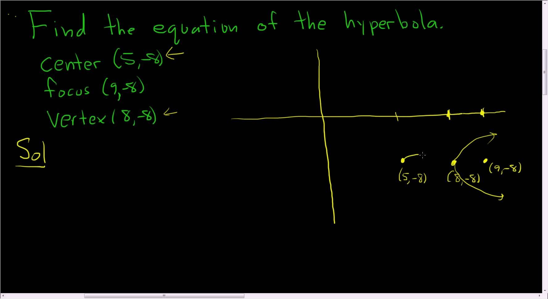 Finding The Equation Of The Hyperbola Given The Center