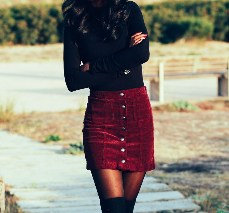 Nya New York | a Touch of burgundy Corduroy skirt- winter outfit- day and night outfits- Bohemian touch- black and burgundy