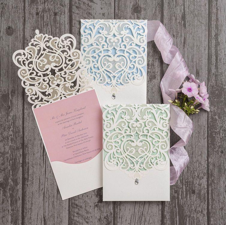 Diamante Laser Cut Pocketfold Personalised Wedding Invitation ...