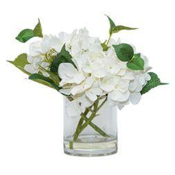 "Artificial Hydrangea Arrangement in Glass Pot White 11"" - Lloyd & Hannah"