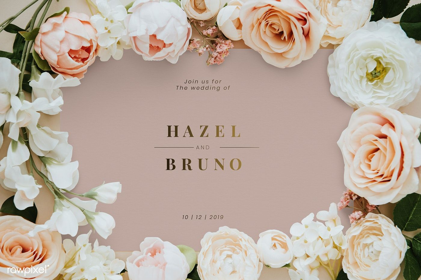 Download premium psd of Botanical wedding invitation card
