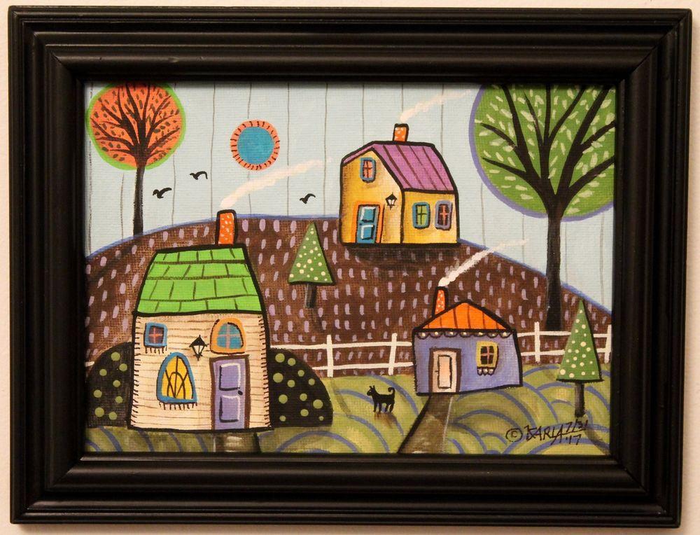 3 Cabins ORIGINAL Framed Canvas Panel PAINTING Folk Art Prim 5 x 7 ...