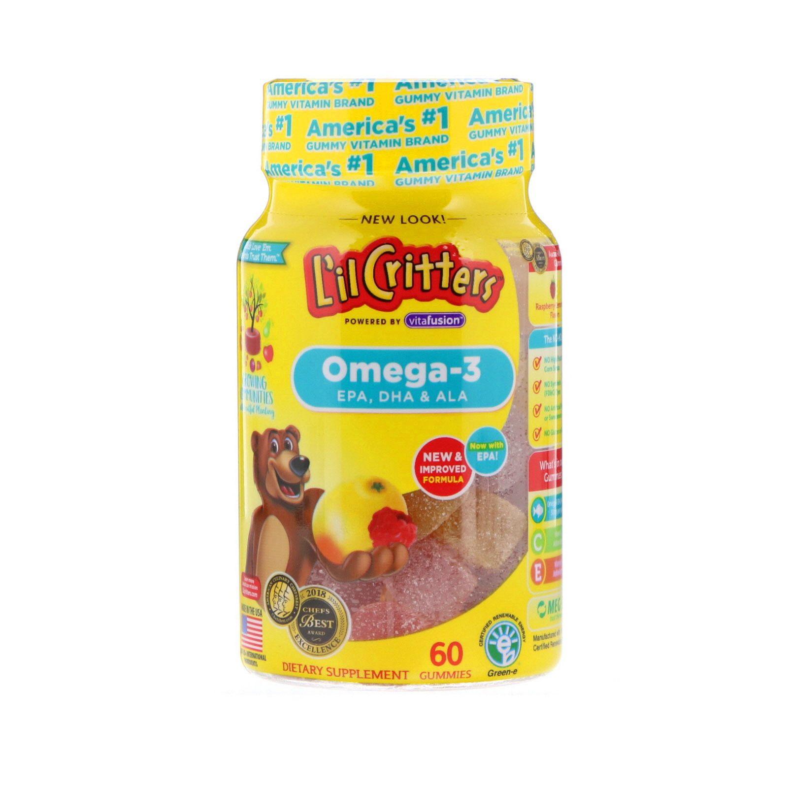 L Il Critters أوميغا 3 نكهات التوت والليمون 60 علكة Raspberry Lemonade Gummies Gummy Vitamins