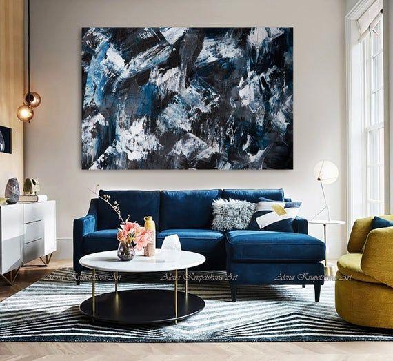 Modern Dark Art Paint Strokes Artwork Large Black Blue Etsy Navy Blue Wall Art Blue Wall Art Blue Wall Decor