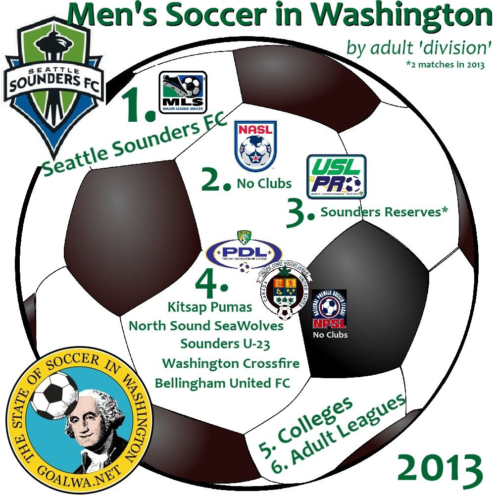 Washington's pro / semipro clubs by US Soccer 'division