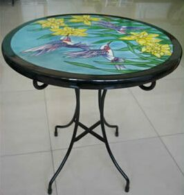 handpainted ceramic table