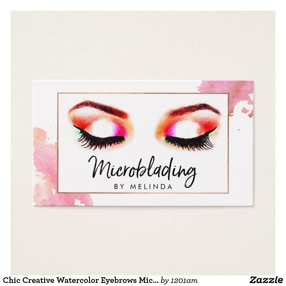 Chic Creative Watercolor Eyebrows Microblading Business Card Carte Visite Sourcils Cartes De Aquarelle