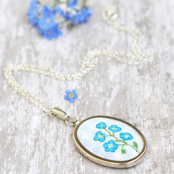 Forget me not Necklace. Flower Boho Jewelry. by TouchTheRainbow
