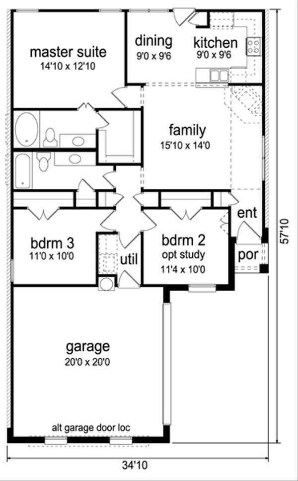 Traditional Style House Plan - 3 Beds 2 Baths 1235 Sq/Ft Plan #84-540 - Eplans.com