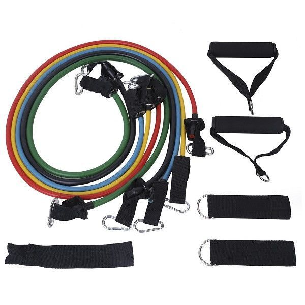 11 PC Latex Resistance Bands Exercise Set