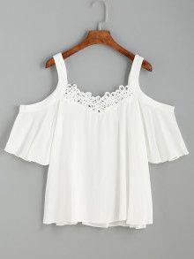 adecuado para hombres/mujeres mujer nueva colección Top hombros al aire ribete croché - blanco   moda elegante ...