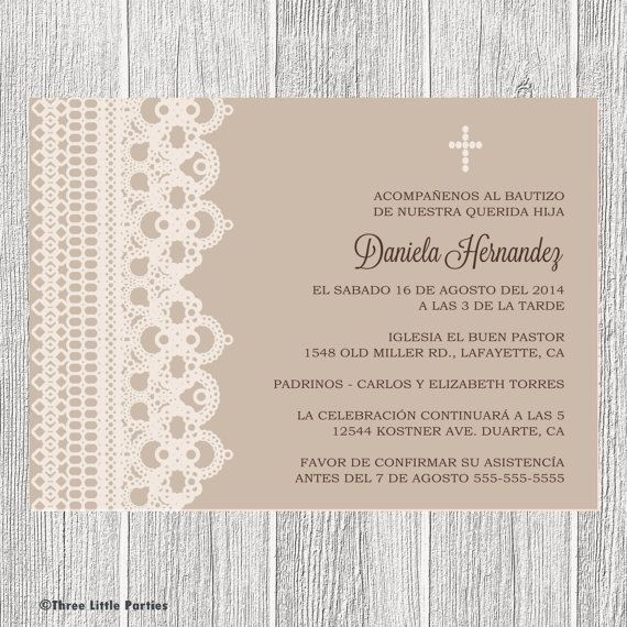 Spanish or english baptism invitation printable lace boy baptism spanish baptism invitation printable lace by threelittleparties 1400 stopboris Gallery