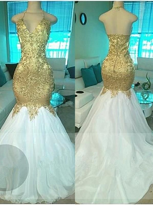 Gold Beading V-neck Halter Prom Dresses Open Back Sexy Mermaid Popular  Evening Gown  7928200c9