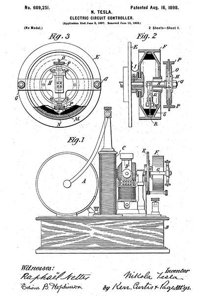 1898 - electric circuit controller - n  tesla